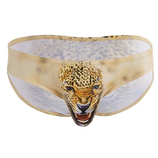 353858286917 CHICTRY Men's 3D Wolf Leopard Bulge Pouch Bikini Briefs Underwear Yellow  Medium(Waist:Waist
