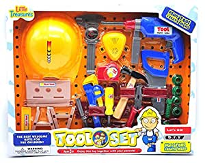 Just like my Dads tools from Little Treasures Worker man pretend & play toys Large Tool Set with Hard Hat realistic looking playset