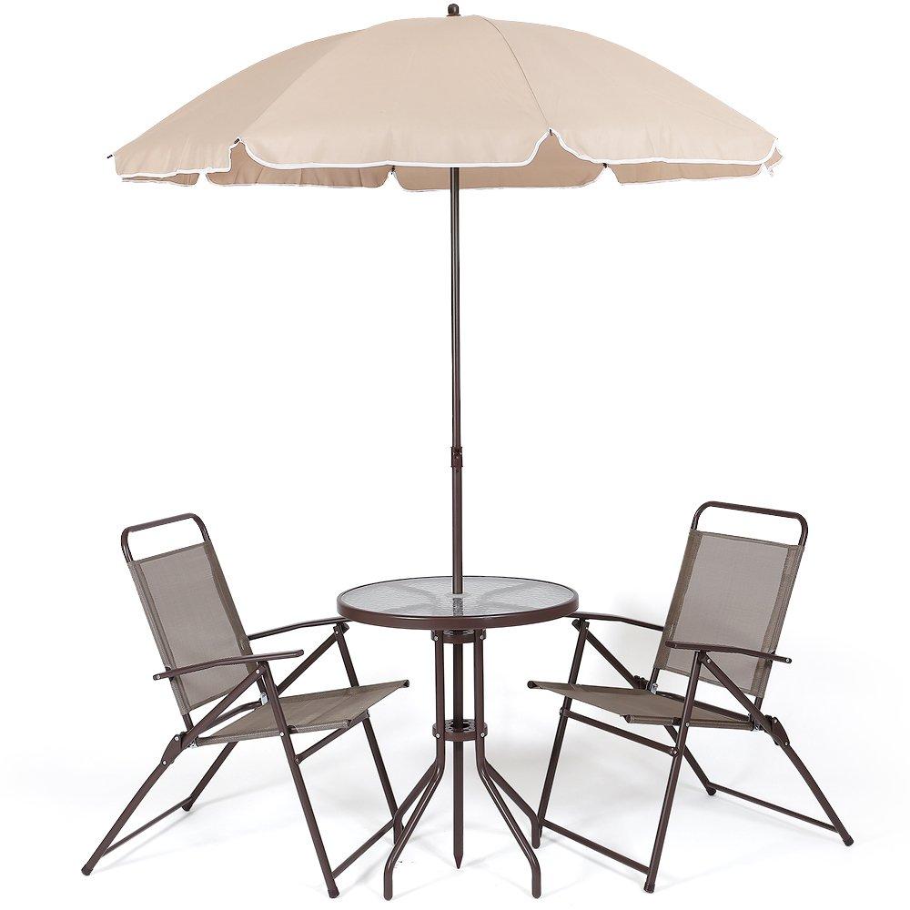 パラソル付き ガーデンテーブル 4点セット