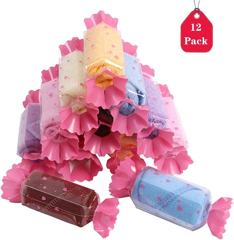 Amycute 12 pcs juguete de Toalla en forma de Dulces regalos Originales Mini Toalla de Microfibra Toallas para niños party recuerdos de boda (Color al azar)
