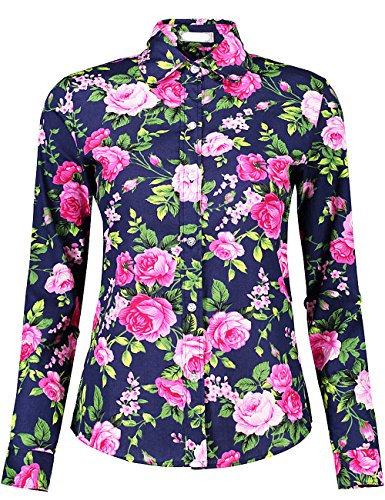 (DOKKIA Women's Fashion Tops Feminine Long Sleeve Button Down Work Casual Dress Blouses Shirts (X-Large, Purple Peony))