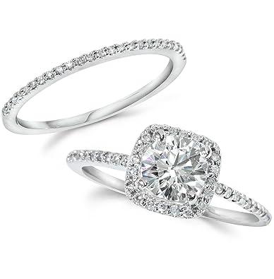 Amazon Com Diamond Engagement Ring Matching Halo Wedding Ring Set