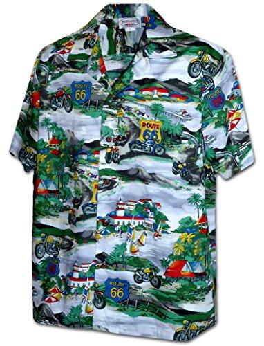 (Pacific Legend Route 66 Motorcycle Tour Apparel Hawaiian Aloha Shirt Grey)