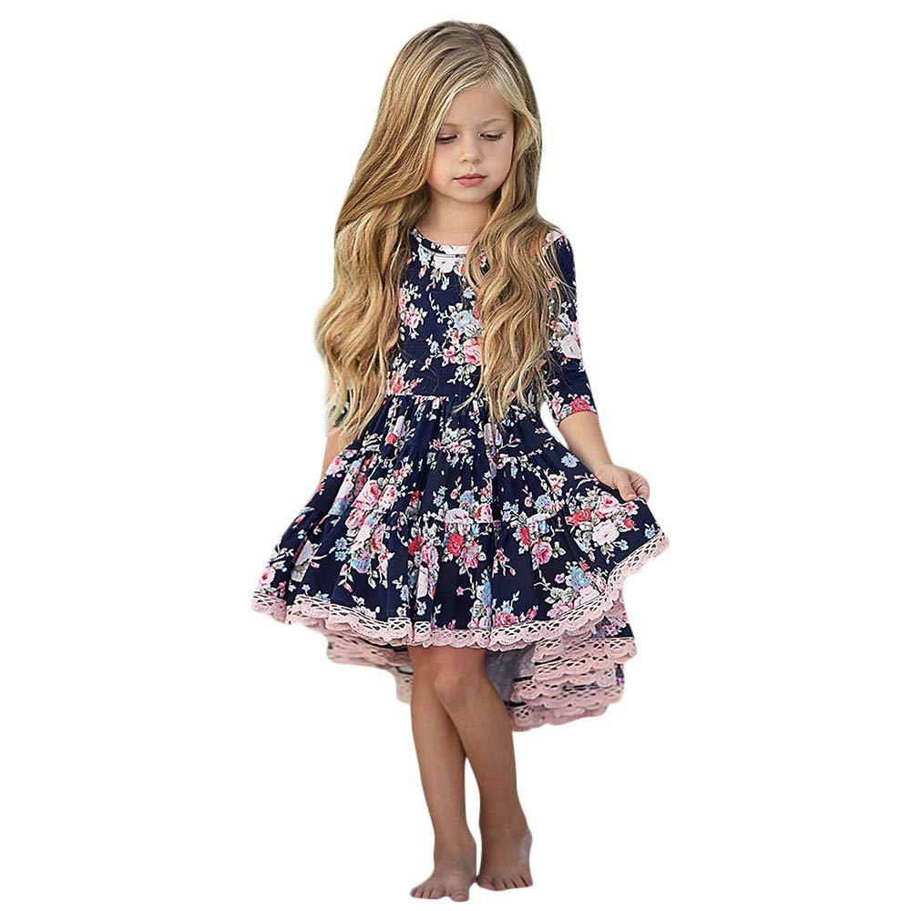 Kobay Kinder Mä dchen Langarm Blumendruck Unregelmä ß iger Rand Tanzen Kleid