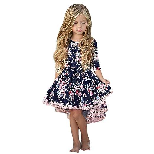 73b16fe30da4 Amazon.com  KONFA Teen Toddler Baby Girls Elegant Floral Print Dress ...