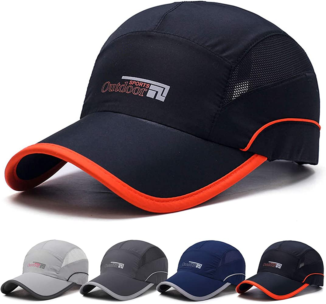 74550a8c Lightweight Quick Dry Baseball Caps Breathable Unstructured Sports Hat for Men  Women Black at Amazon Men's Clothing store: