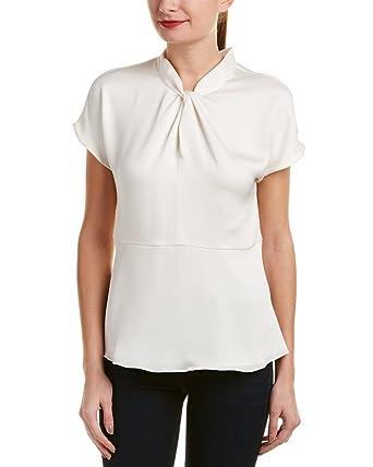 7f4d5db49f7 Vince Camuto Womens Drop Shoulder Twist Mock Neck Blouse Antique White LG  One Size