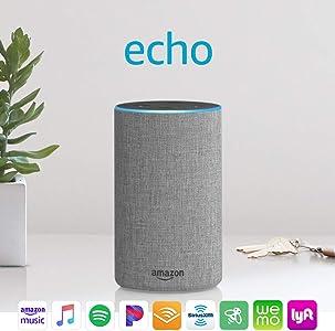 Certified Refurbished Echo (2nd Generation) - Smart speaker with Alexa – Heather Gray Fabric