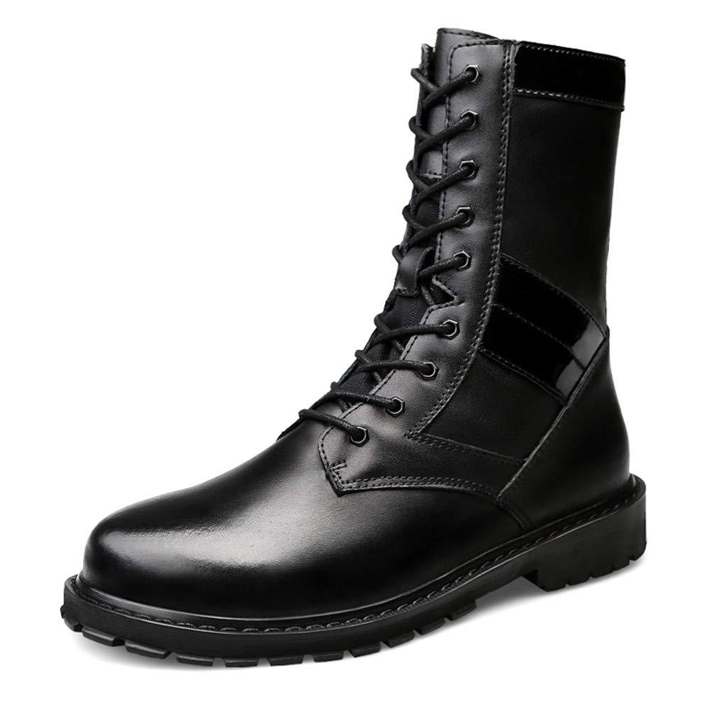 CHENJUAN Schuhe Herrenmode Mittel Stiefel Casual Neuen Stil Hohe Außensohle Nachahmung Armee Stiefel (Warme Samt Optional)  | Feine Verarbeitung