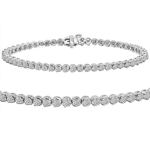 AGS Certified 3ct tw Diamond Tennis Bracelet in 14K White Gold 7 inch