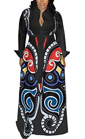 8c95678fad04 LKOUS Women Casual Print Button Long Sleeve Loose Cocktail Swing Maxi Shirt Dresses  Plus Size Black