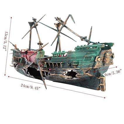 SUxian Adorno de Barco Roto para Acuario, Ideal para decoración de paisajes de peceras
