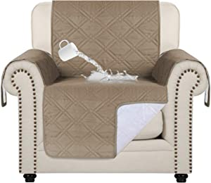 "100% Water Resistant Chair Slipcover Waterproof Furniture Protector Slip Reducing Backing Non-Slip Chair Covers Non-Slip Washable Waterproof Pads for Furniture (Chair 75"" x 65"") Taupe"