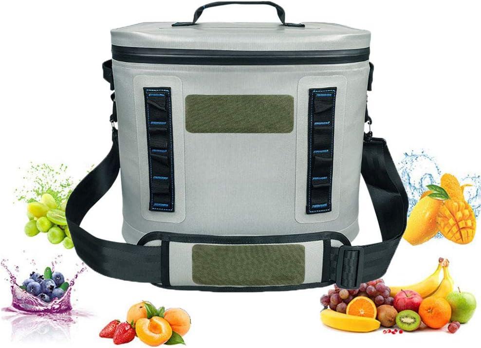 20 Lピクニック保冷クールバッグ女性のための保温ランチバッグ、屋外ピクニックキャンプのための男性、グレー