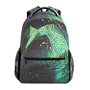 Wamika Whale Art Shine Mochila de mar Liviana, Impermeable, para Escuela, Gimnasio,