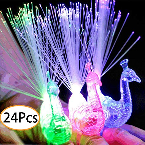 URSKYTOUS 24Pcs LED Light Up Rings Novelty Party Favors Peacock Glow Finger Toy Bumpy Rings Bulk For Birthday, Bachelorette, Concert Shows and Gifts ()