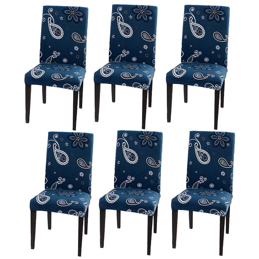 SUBCLUSTER Pack of 6 Stretch Removable Washable Short Dining Chair Protector Cover Slipcover (Color 10)