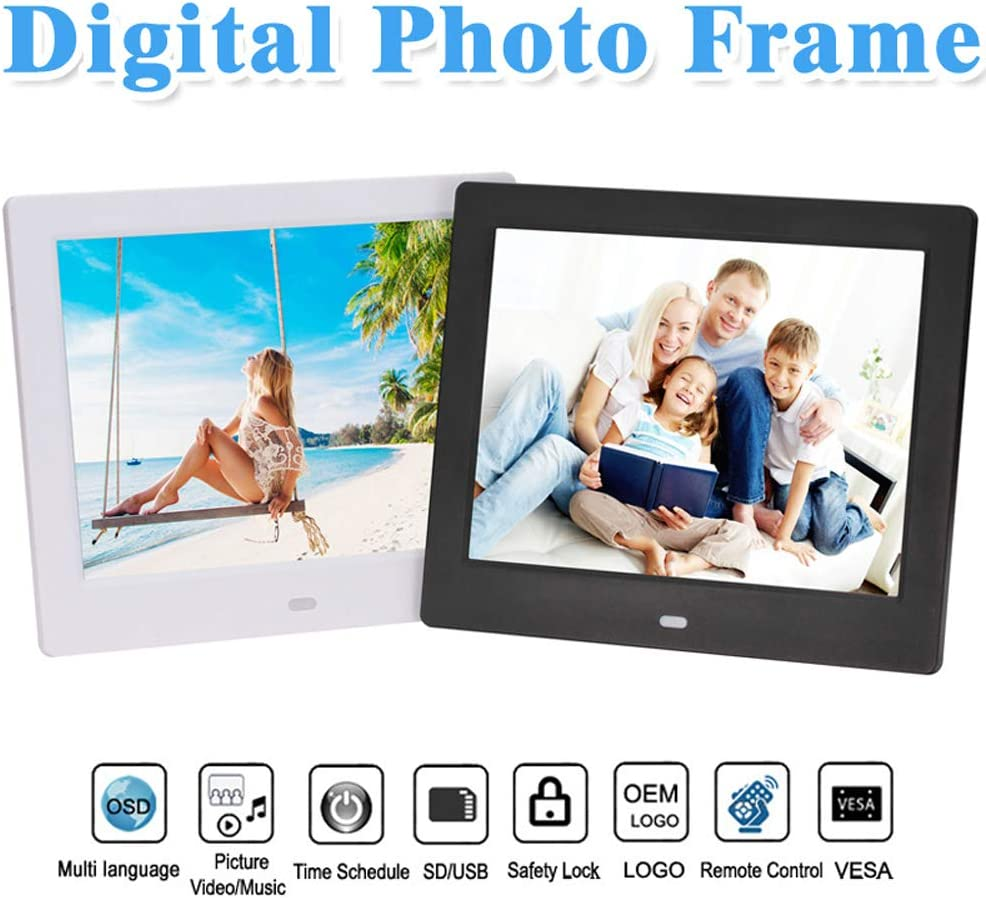 Dayangiii Digital Photo Frame 7 inch Electronic Photo Frame USB Digital Picture Frame with Remote Control Motion Sensor SD Card Video Player,White,AU