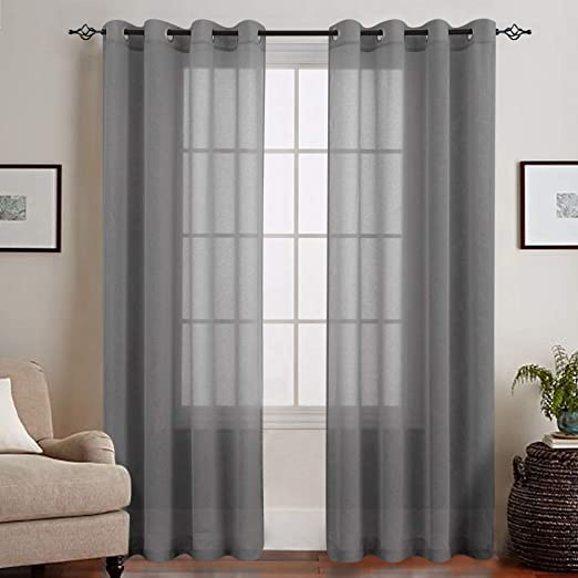 jinchan Linen Textured Sheer Curtains for Living Room Grommet Top Voile Window Panels for Bedroom 2 Panels, 50 by 84 Inch Long, Nature