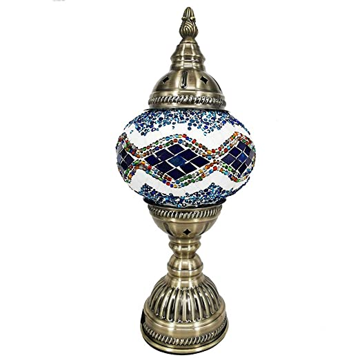 QETU Lámpara Mesa De Mosaico, Lámpara De Vidrio Estilo Tiffany ...