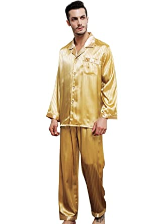 Mens Silk Satin Pajamas Set Sleepwear Loungewear S~4XL Plus Gifts  Amazon.co.uk   Clothing 6e8bc833d