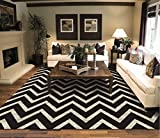 New Chevron Black & Ivory Area Rugs For Living Room 5×7 ZigZag Rugs For Bedroom, 5×8 Black Zig Zag Rug Review