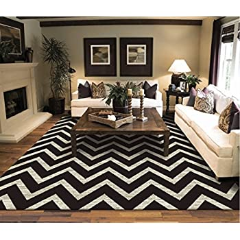 Amazon.com: New Chevron Black & Ivory Area Rugs For Living Room 5x7 ...