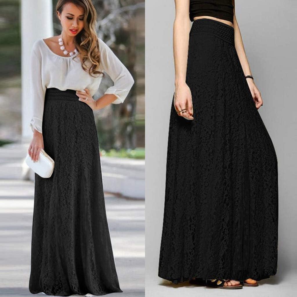 Conquro-falda de Encaje de Cintura Alta para Mujer Casual Faldas ...