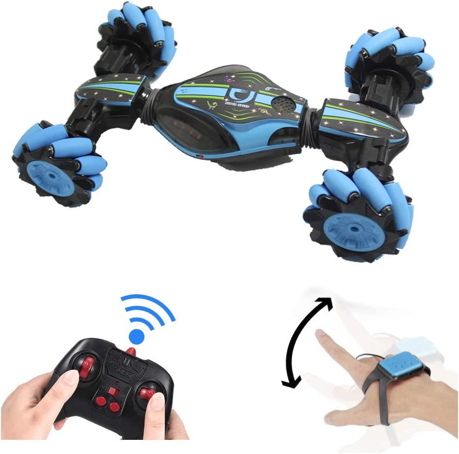 GoolRC RC Stunt Car, 4WD 2.4GHz Remote Control Car, Deformable All-Terrain Off Road Car, 360 Degree Flips Double Sided Rotating Race Car with Gesture Sensor Watch Lights Music for Kids (Blue)