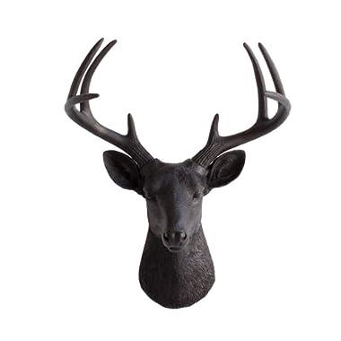 Wall Charmers Large Black Faux Deer Head - 21  Faux Taxidermy Animal Head Wall Decor - Handmade Farmhouse Decor