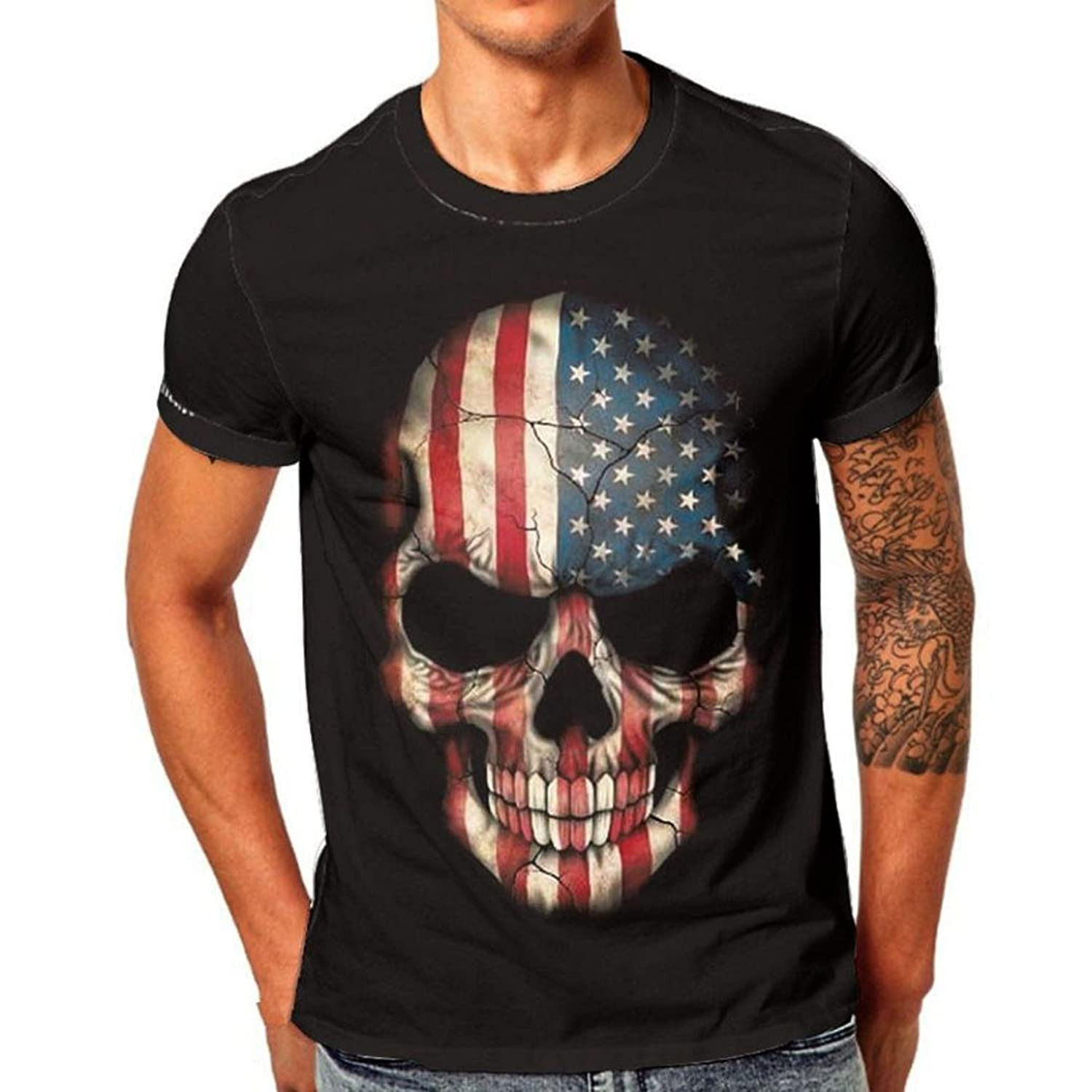 72cc358e7 Material: Cotton **** Feature: Short Sleeve, Skull Print, American Flag  Style, Slim Fit, O-Neck ✪ Tips:Please do not refer to the above size chart  provided ...