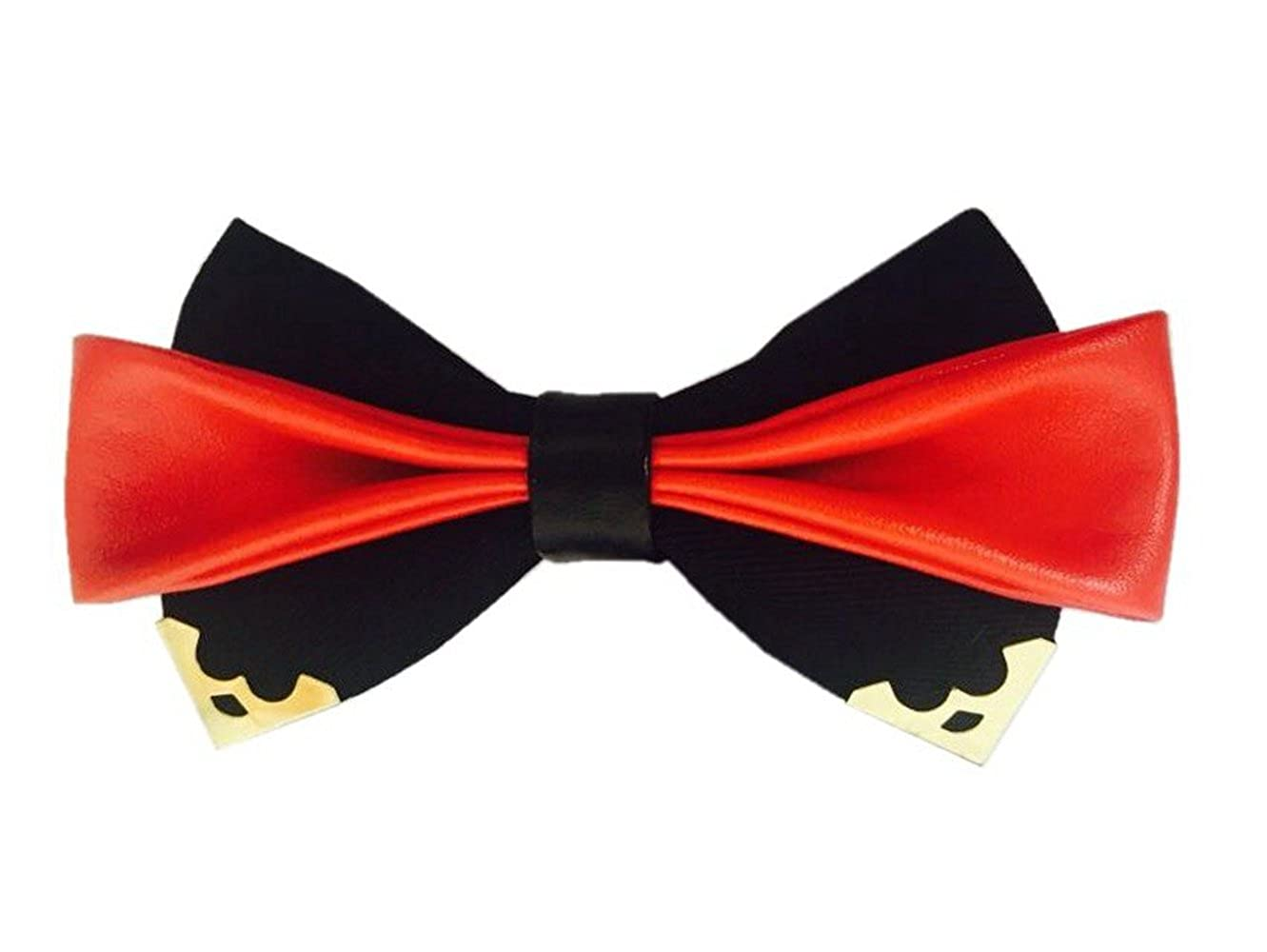 d24fdd76826f Hello Tie Men's Black Cotton and Leather Bow Tie With Gold Metal Edge  Pre-tied Bowtie at Amazon Men's Clothing store: