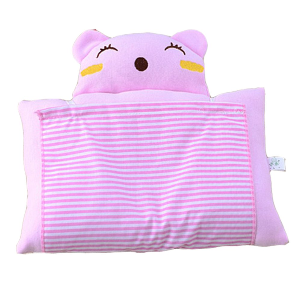 Baby Newborn Infant Toddler Soft Cotton Sleeping Support Pillow Prevent Flat Head Flathead (pink) coffled