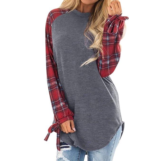 Cinnamou_mujer Sudadera a Arco de Manga Larga Camiseta Blusa Cuadros para Mujeres Pullover Tops: Amazon.es: Ropa y accesorios