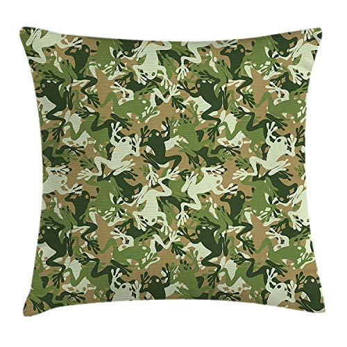 K0k2t0 Animal Throw Pillow Cushion Cover, Skull Camouflage Military Design with Various Frog Pattern Different Tones Art, Decorative Square Accent Pillow Case, 18 X 18 inches, Sage Pine Green