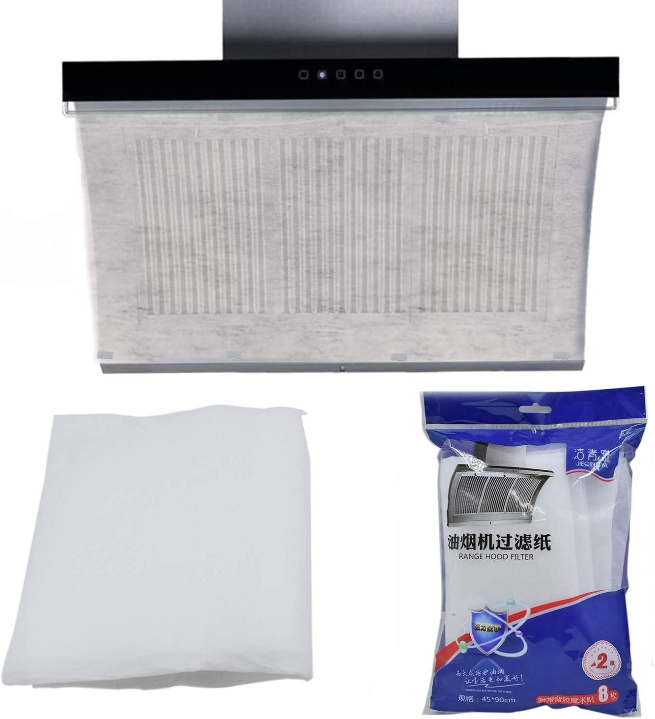 LiXiongBao Cooker Hood Filter Home Range Hood Oil Proof Stain Filter Stickers Oil-Absorbing Paper.17.72 inches X 35.43 inches,Pack of 2