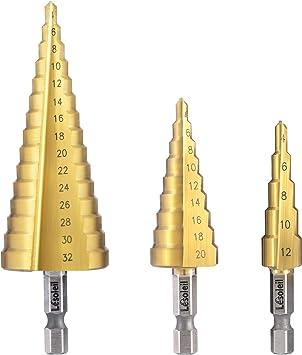 3pcs Small HSS Metal Step Drill Titanium Coated Steel Hole Cutter Bit Set UK