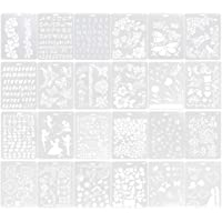 ULTNICE 24 Pcs Drawing Templates Stencils Flower Butterfly Pattern Drawing Painting Stencils Scrapbooking Plastic Stencil Album Decor Paper Card Template for Students Kids DIY Craft