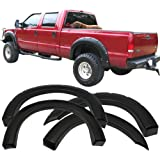 Fender Flare Fits 1999-2007 Ford F250 F350 Superduty | Pocket Rivet Style Smooth Black ABS Wheel Protector Protection Guards Cover by IKONMOTORSPORTS | 2000 2001 2002 2003 2004 2005 2006