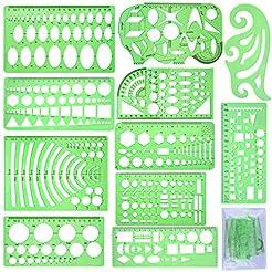 SIQUK 11 Pieces Geometric Drawings Templ...