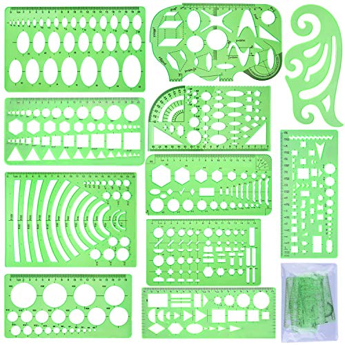 - SIQUK 11 Pieces Geometric Drawings Templates Plastic Clear Green Plastic Rulers with 1 Pack Poly Zipper Envelopes for Studying, Designing and Building