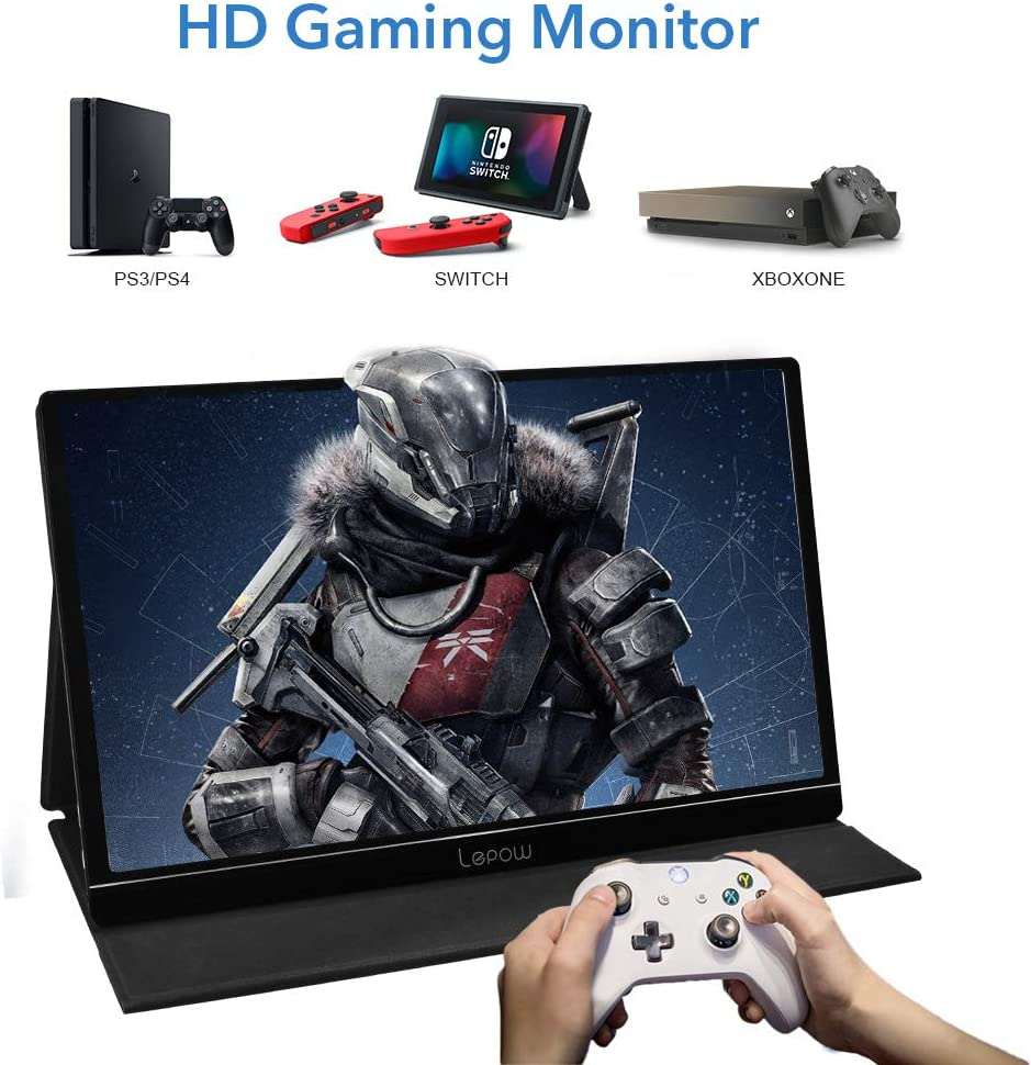 Portable Monitor - Lepow 15.6 Inch Full HD 1080P USB Type-C Computer Display IPS Eye Care Screen with HDMI Type C Speakers for Laptop PC PS4 Xbox Phone Included Smart Cover & Screen Protector Black: Computers & Accessories