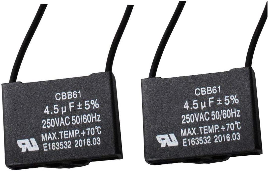 CBB61 5UF 250VAC Ceiling Fan Capacitor for New Tech 50//60HZ 2 Wire 2 pack )