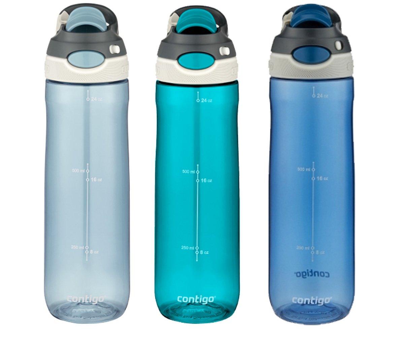 Contigo AUTOSPOUT Water Bottles, 24oz, Monaco/Scuba/Stormy Weather, 3-Pack