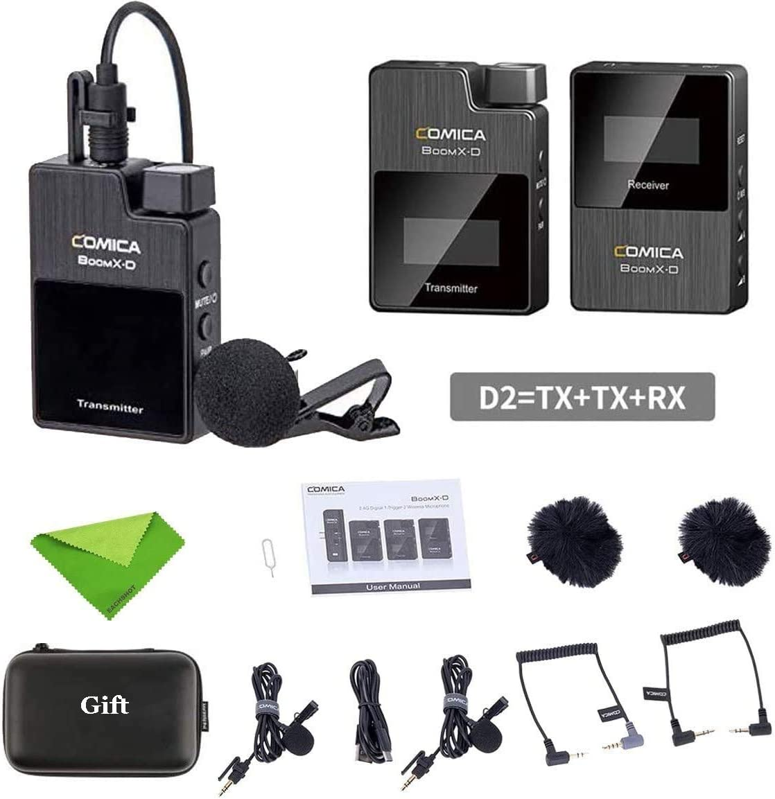 Comica BoomX-D D2 Wireless Lavalier Microphone System,2.4G Digital 1-Trigger-2 Wireless Microphone OLED Display Transmitter /& Receiver with Lapel Clip Mics for DSLR Camera