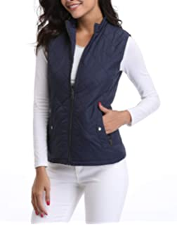 Womens Casual Quilted Puffer Vest Tops Utility Zip Drawstring Outerwear Jacket