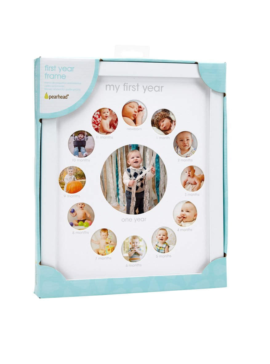 amazoncom pearhead my first year monthly photo baby keepsake frame white baby - My First Year Picture Frame