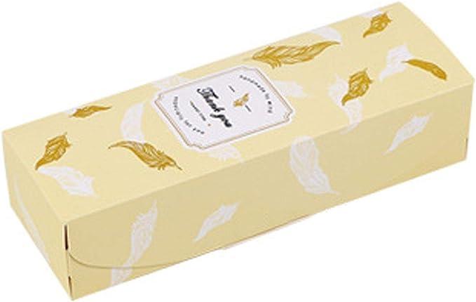 UNIQUE SOLO SHOP - Caja de Regalo con diseño de Plumas de mármol y turrón para Galletas, Dulces, piñas, Tartas, Papel de Hornear, Caja de Regalo, Bolsas de Regalo de cumpleaños y