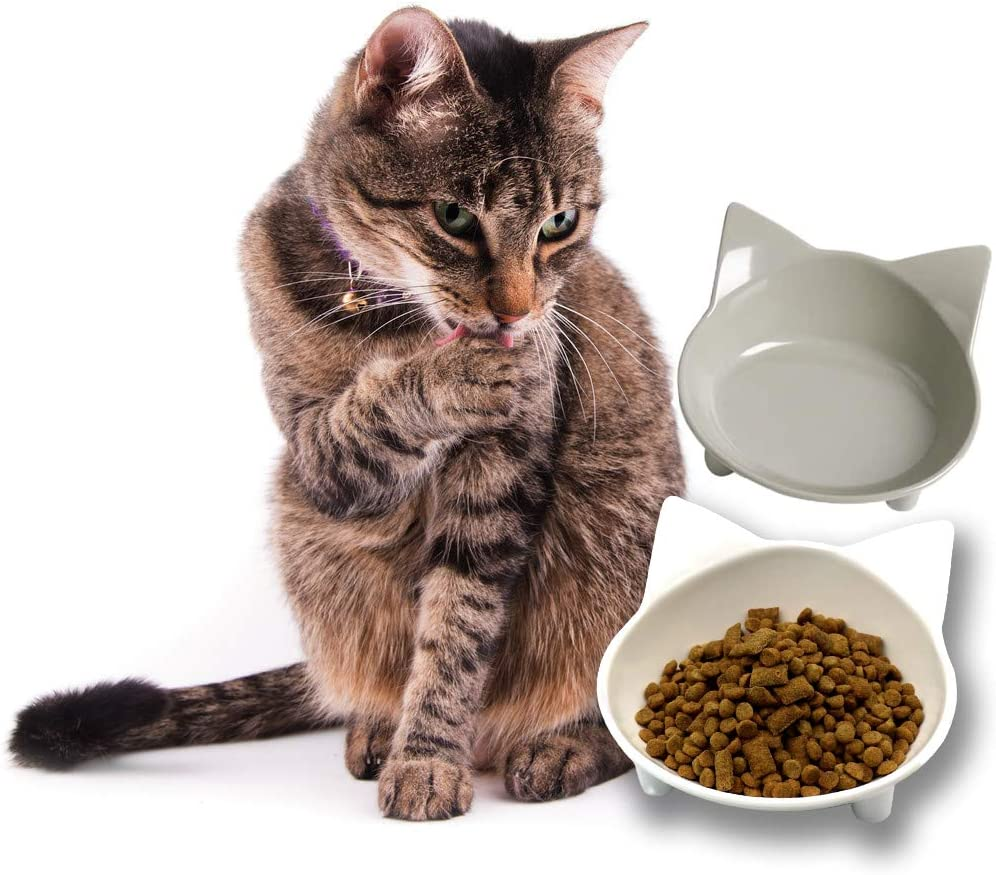 Hanerreal Cat Bowls Cat Food Bowls Wide Shallow Cat Dish Cute Non Slip Pet Food & Water Bowls Feeder Bowls Set of 2 for Dogs Cats Small Animals