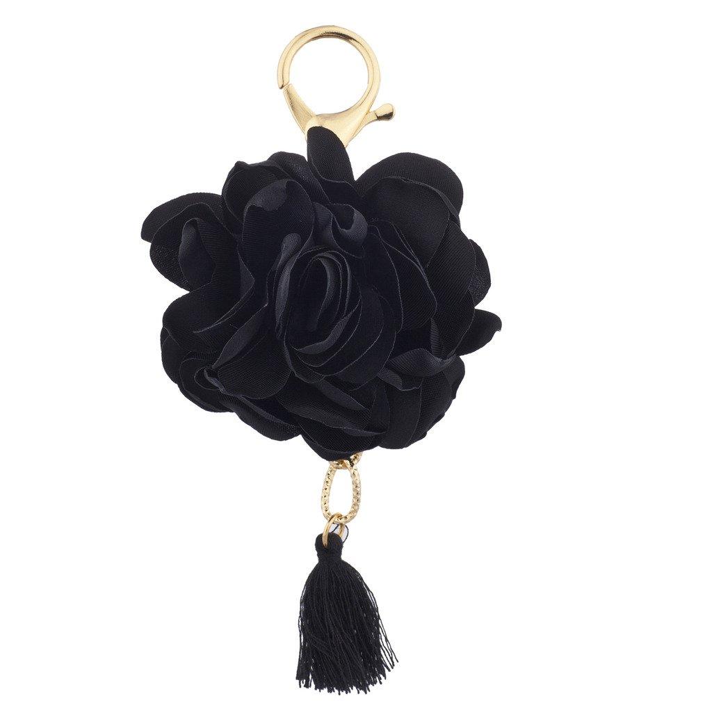 Lux Accessoires Doré et Pompon Tissu Noir Fleur Rose Bijou de Sac Porte-Clés Lux Accessories K237752-1-K82